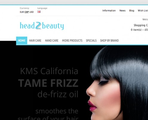 Opencart shop web design, Head2Beauty