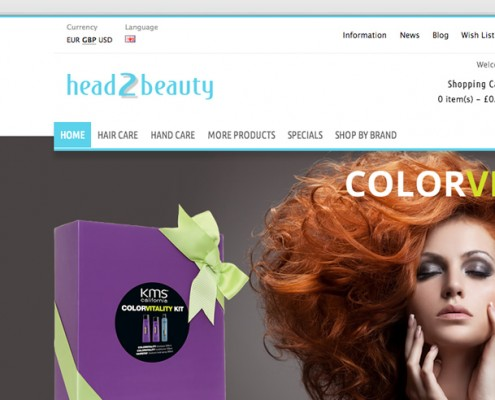 Opencart shop web design, hair, beauty products