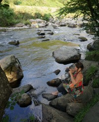 Photography trip, North Wales, Anne-Marie, Orangebox web designer, cooling her feet