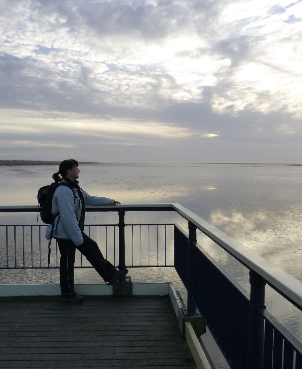 Southport Pier, Anne-Marie, Orangebox, web designer, takes in the sunset