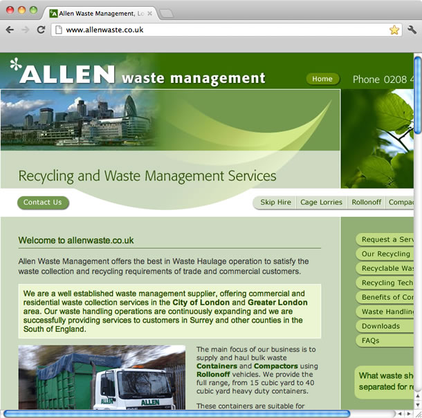 Allen Waste Management, London, web design