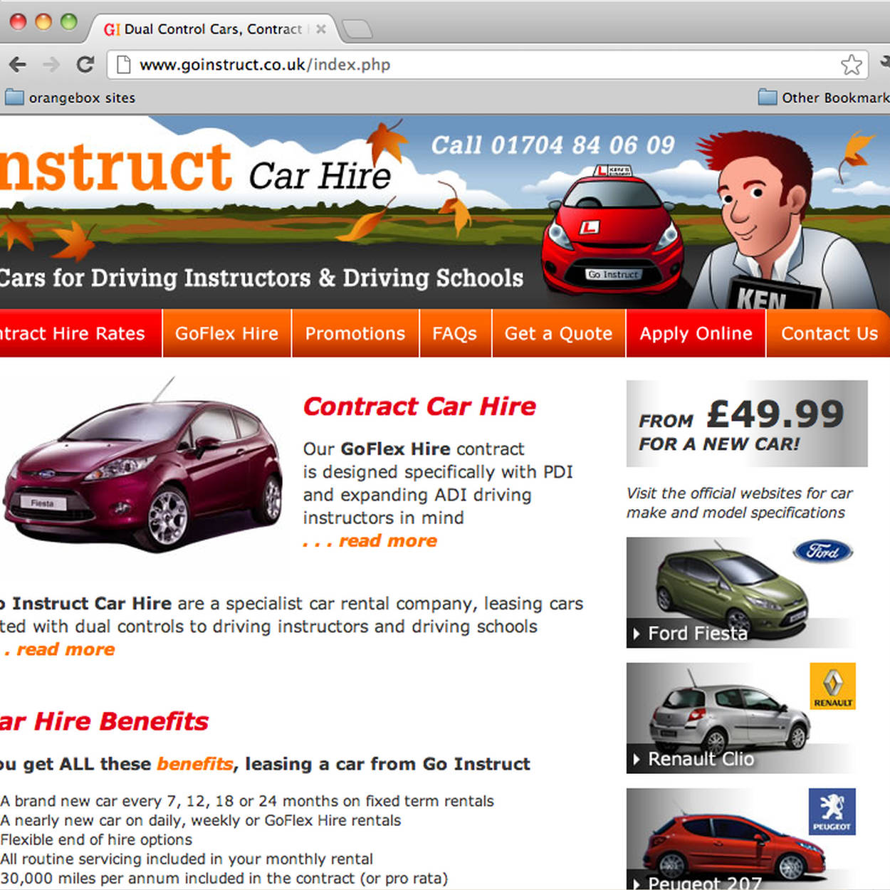 Go Instruct Website, Autumn Banner, Ken character, Orangebox web design