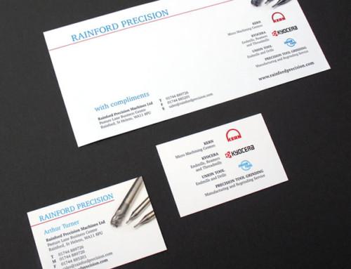 Rainford Precision Logo, Branding, Business cards, Stationery, Print Design