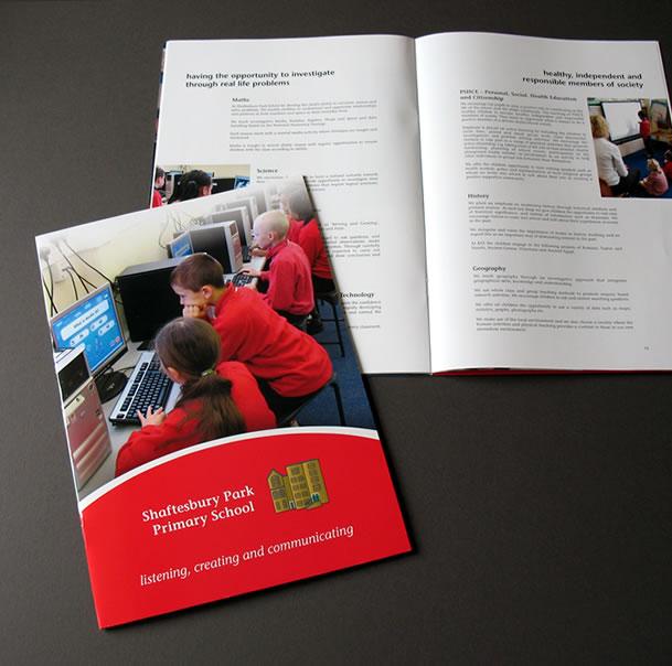 Shaftesbury School, London, prospectus brochure design and print by orangebox