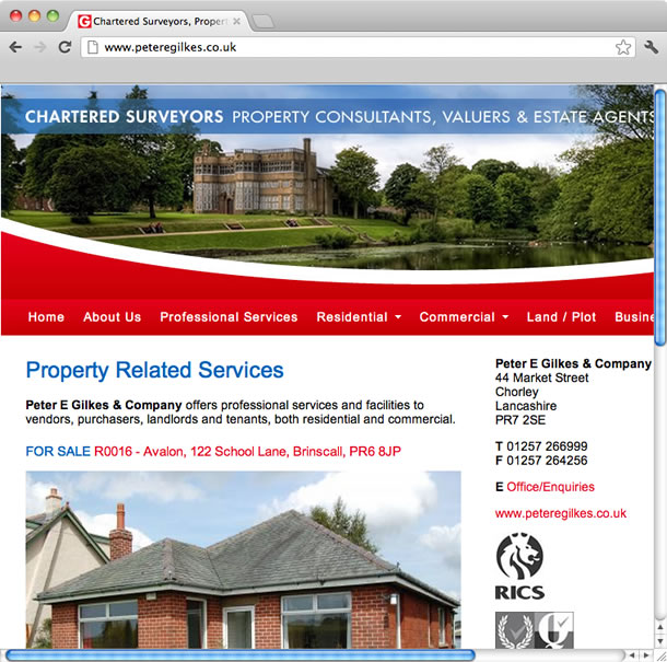 Web Design, CMS - Peter E Gilkes, Estate Agents