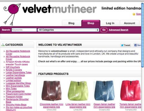 Velvetmutineer Shop Web Design, eCommerce Website