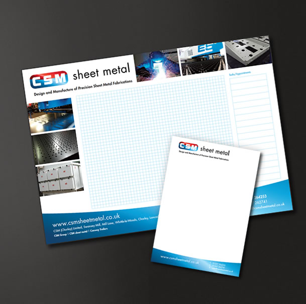 CSM Sheet Metal Desk Planners and Pads, Print Design
