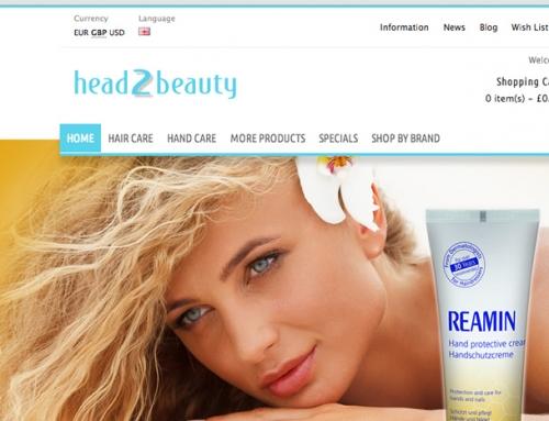 head2beauty eCommerce Shop Website Design