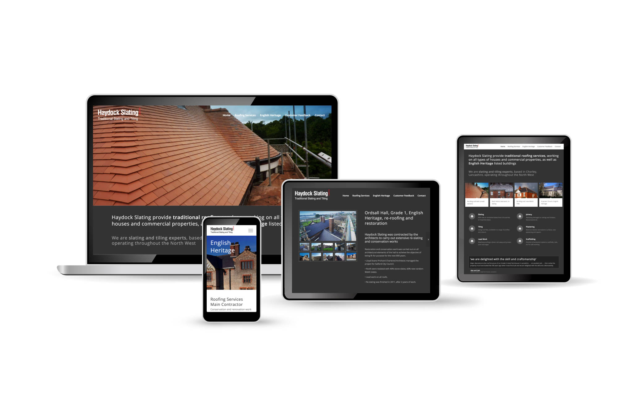 Roofing Contractor, Haydock Slating, website design by Orangebox
