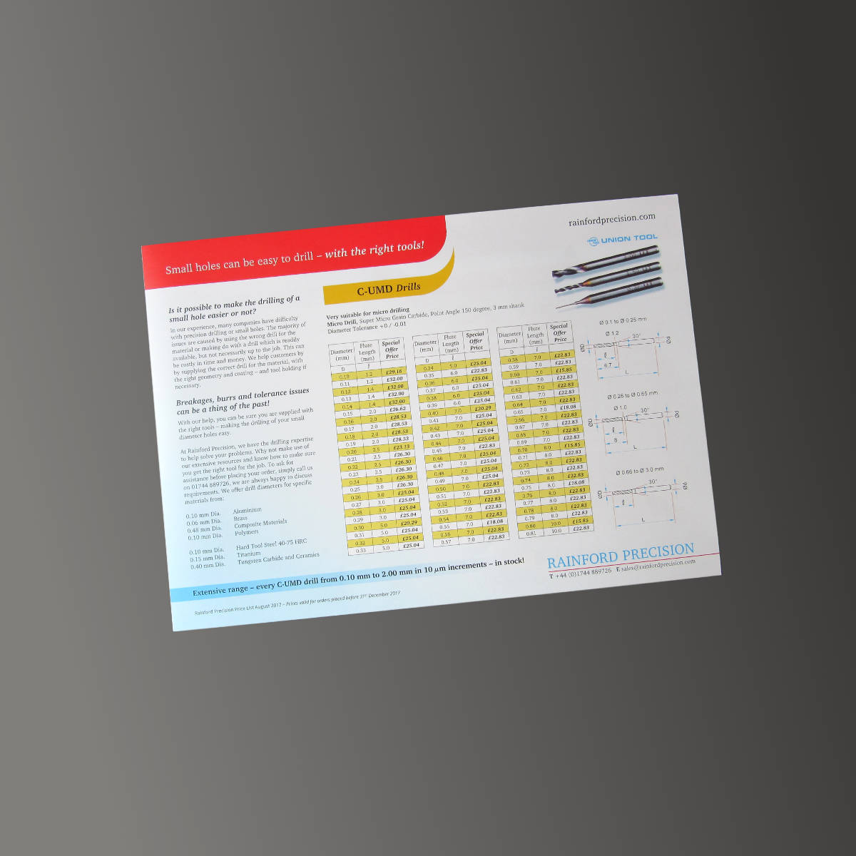 Rainford Precision Drills Price List 2018, print design by Orangebox