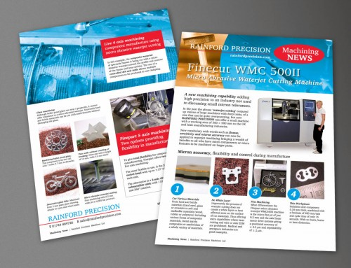 Rainford Precision, Machining News Leaflet, Finecut, MACH 2018, print design by Orangebox