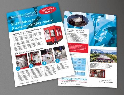 Rainford Precision Machining News, Kern Micro Pro Leaflet, A4, print design, artwork by orangebox