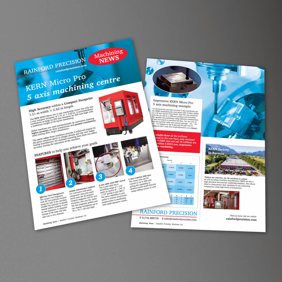 Rainford Precision Machining News, Kern Micro Pro Leaflet, print design by Orangebox