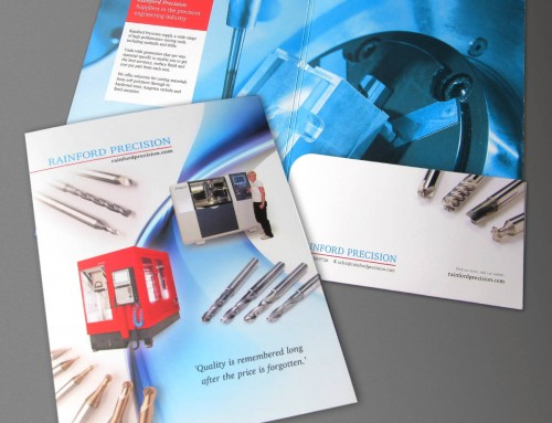 Rainford Precision presentation folder, marketing info pack, print design by orangebox