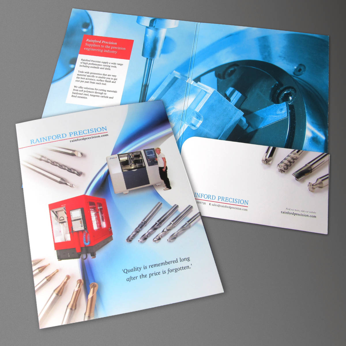 Rainford Precision Presentation Folder, print design by Orangebox