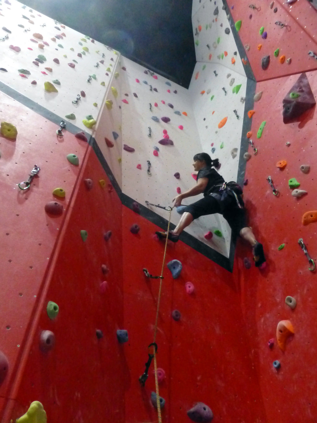 Warming up on pink 4+, Awesome Walls, Liverpool, 2019