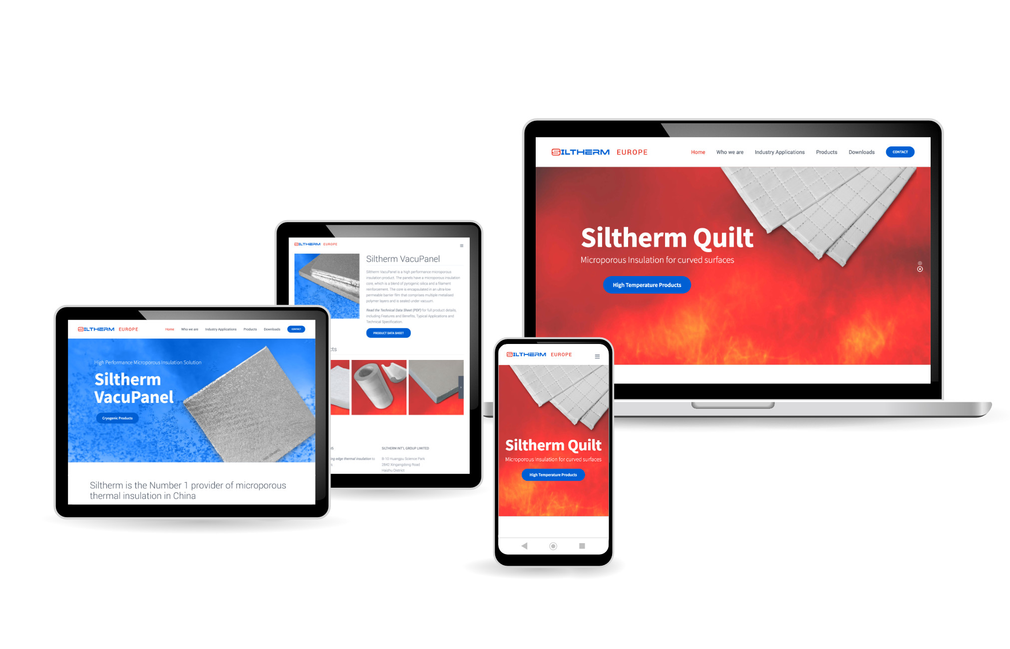 Siltherm Europe, Microporous Insulation Products, web design by Orangebox Digital, rebrand with new Logo, April 2020