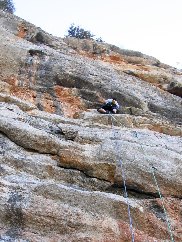 Stu climbing, DESPLOMILANDIA area, El Chorro, Spain
