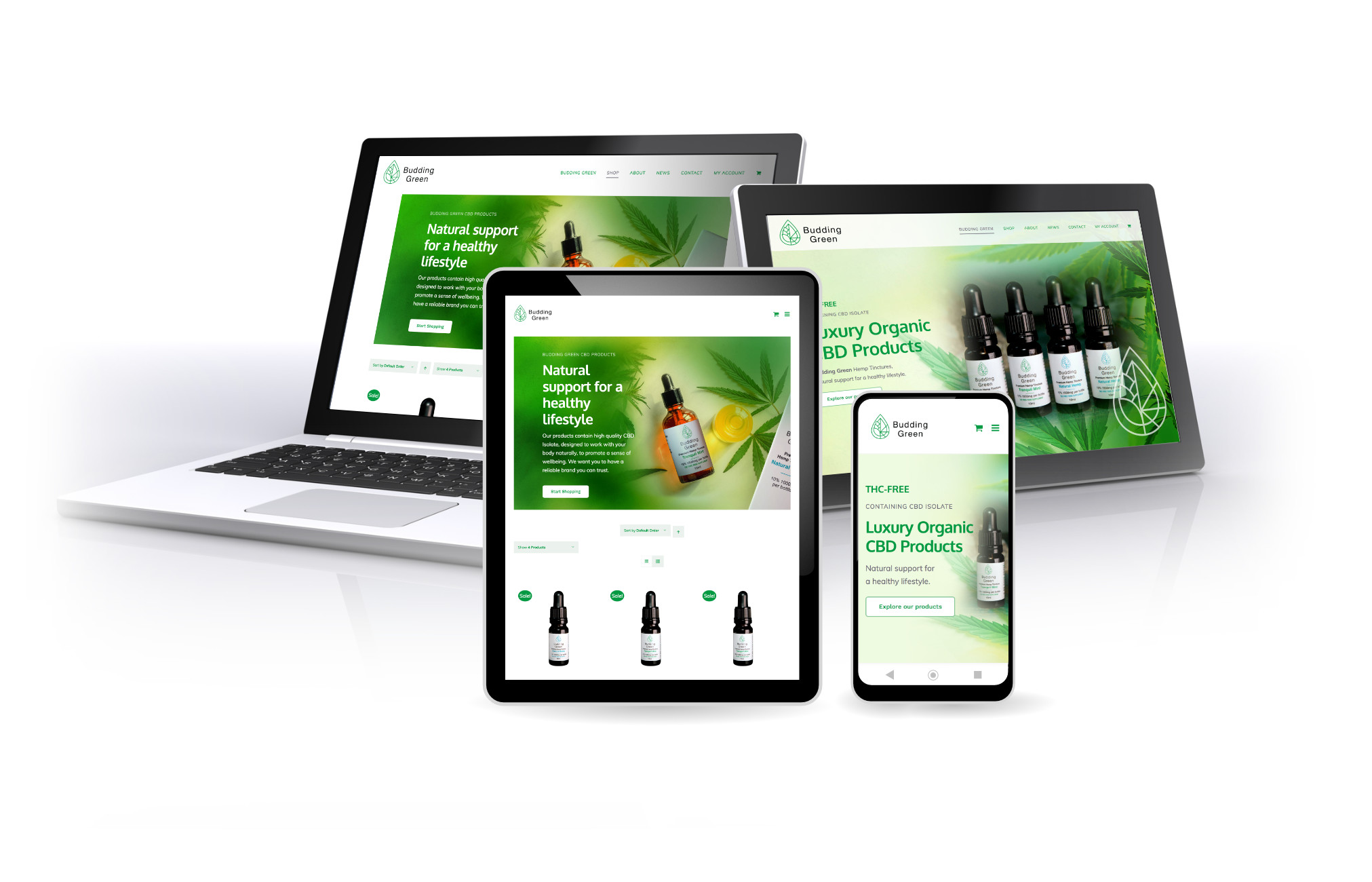 CBD Products, Budding Green Shop, eCommerce, web design by Orangebox Digital, 2020