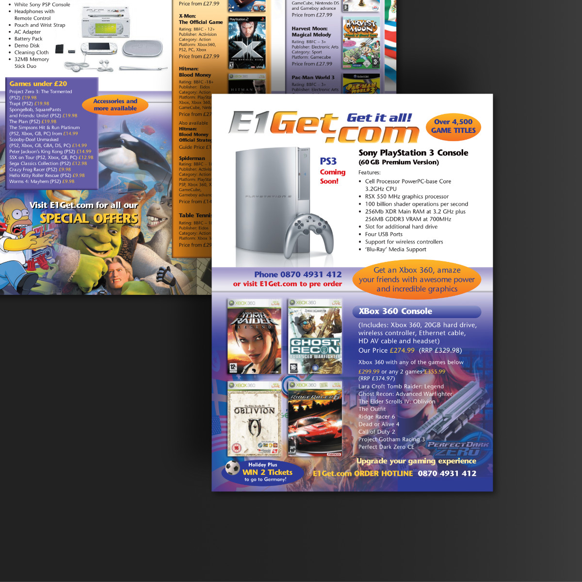 e1get, direct mail, sales brochure, playstation, games, design and print by Orangebox Digital