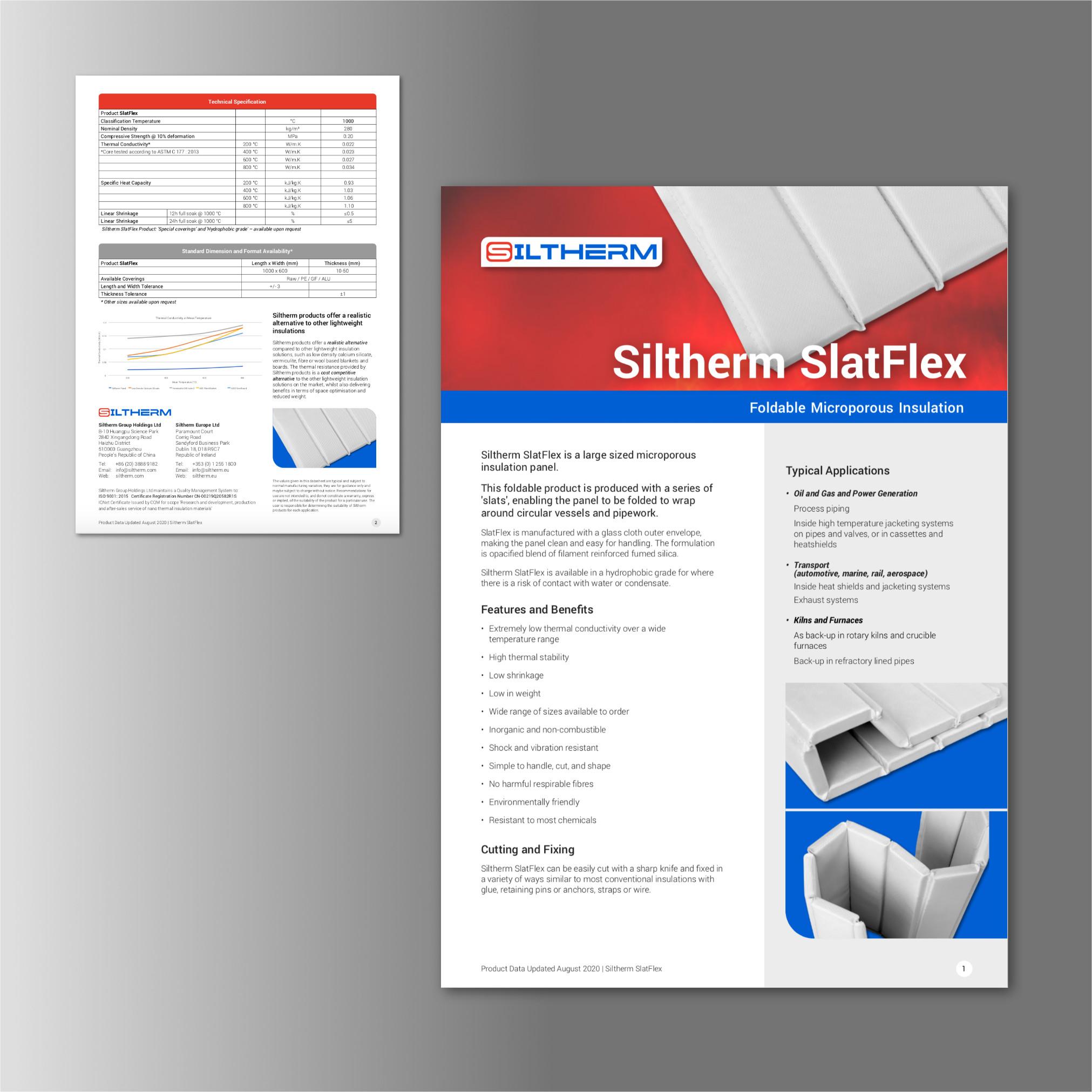 Siltherm SlatFlex Data Sheet, web PDF, Print Design by Orangebox Digital, 2020